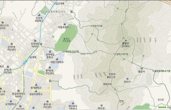 Map of Sanggye Stn., Trails, and Buramsan Peak