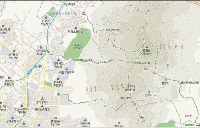 Map of Sanggye Stn., Trails, and Buramsan Peak